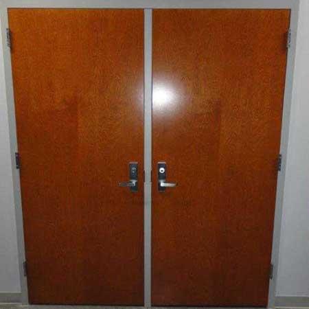 double wood door